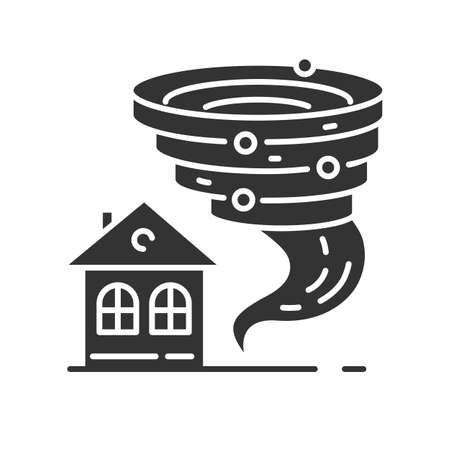 Tornado glyph icon. Twister spiral funnel approaching house. Cyclone and building. Extreme weather condition. Hurricane. Storm. Typhoon. Silhouette symbol. Negative space. Vector isolated illustration