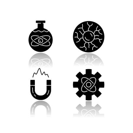 Physics branches drop shadow black glyph icons set. Chemical, plasma and engineering physics, electromagnetism. Physical processes scientific disciplines. Isolated vector illustrations