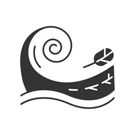 Icona del glifo con tsunami. Tempesta di mare. Spruzzi d'acqua. Groundswell. Marea. Inondazione improvvisa. Movimento improvviso e distruttivo dell'acqua. Onda oceanica, foglia. Simbolo di sagoma. Spazio negativo. Illustrazione vettoriale isolato
