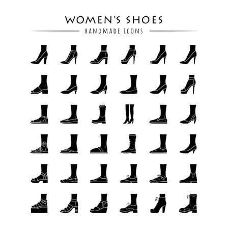 Women shoes glyph icons set. Female fashion, summer and autumn trendy footwear. Stiletto high heels, sandals, pumps. Winter and fall boots. Silhouette symbols. Vector isolated illustration Ilustrace