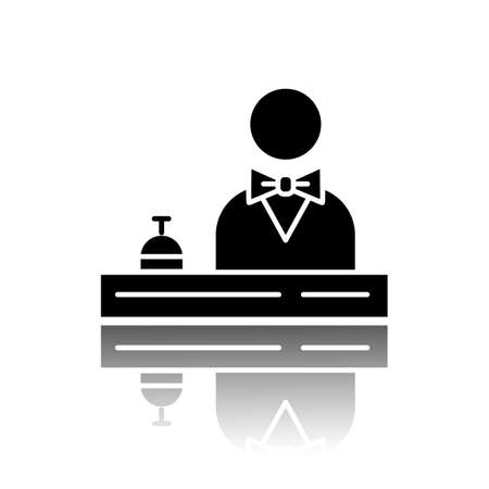 Hotel reception drop shadow black glyph icon. Concierge service. Manager, butler, majordomo wearing suit. Guest meeting, registration. Motel lobby receptionist. Vector isolated illustration