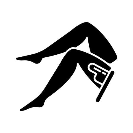 Leg waxing glyph icon. Female hair removal procedure. Depilation with natural soft hot wax. Professional beauty treatment. Silhouette symbol. Negative space. Vector isolated illustration