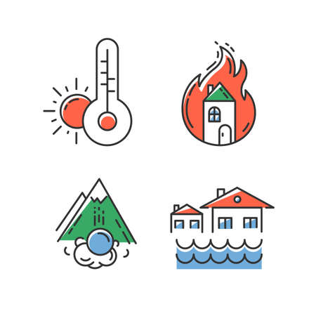Natural disaster color icons set. Environmental hazards. Weather forecast, fire, avalanche, flood. Insurance case. Extreme events. Destructive force of nature. Isolated vector illustrations Çizim