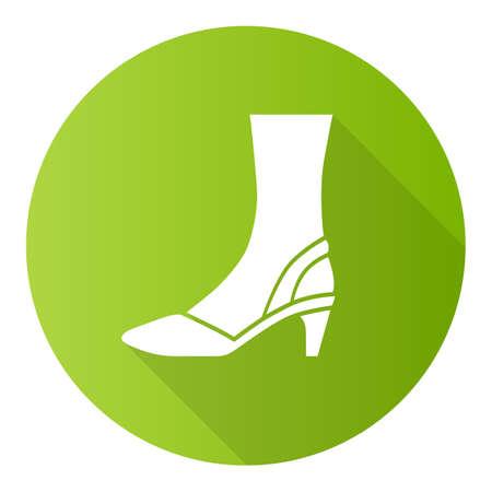Slingback high heels green flat design long shadow glyph icon. Woman stylish and classic footwear design.