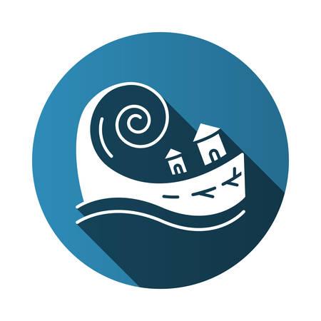 Tsunami blue flat design long shadow glyph icon. Groundswell. Ocean storm washing settlement. Sea wave destruct houses. Hurricane damage. Natural disaster catastrophe. Vector silhouette illustration Foto de archivo - 133545180