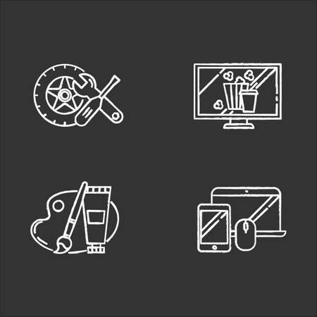 E commerce departments chalk icons set. Online shopping categories. Internet retail. Arts and crafts, hobbies. Electronics. Auto parts. Movies and television. Isolated vector chalkboard illustrations