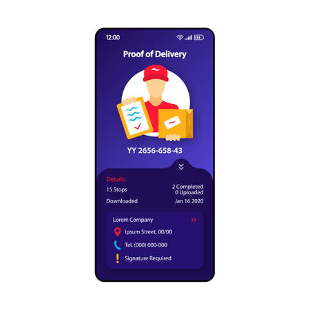 Proof of delivery smartphone interface vector template. Mobile app page dark blue design layout. Courier service screen. Flat UI for application. Parcel transportation. Phone display