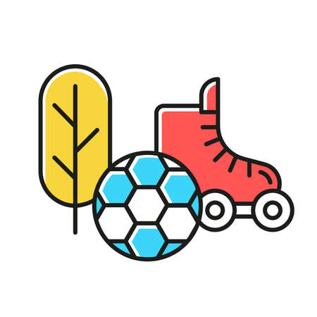 Sports and outdoors color icon. Hobbies and games supplies. Different sport activities. E commerce department, online shopping categories. Active leisure concept. Isolated vector illustration