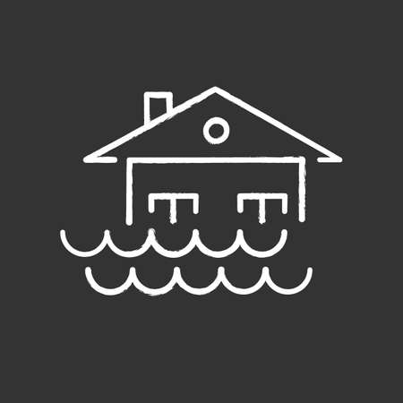 Flood chalk icon. Overflow of water. Sinking house. Submerged building. Flooding locality. Sea level rise. Natural disaster. Isolated vector chalkboard illustration
