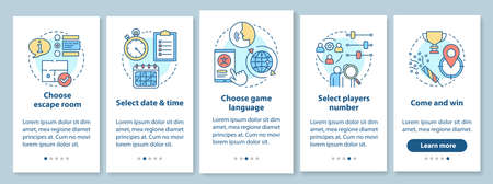 Escape room booking tutorial onboarding mobile app page screen with linear concepts. Choose quest game, date. Walkthrough steps graphic instructions. UX, UI, GUI vector template with illustrations 向量圖像