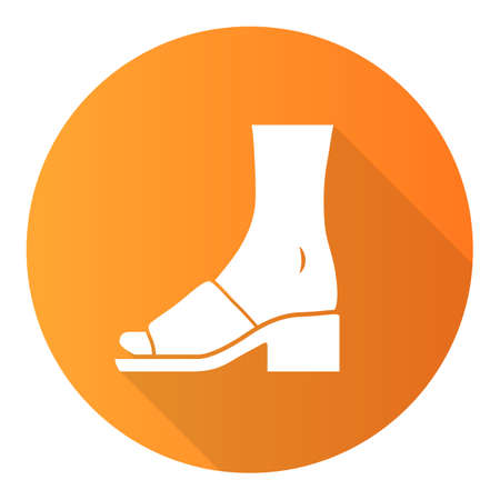 Mule sandals orange flat design long shadow glyph icon. Woman stylish footwear design. Female casual shoes, block high heels. Fashionable retro clothing accessory. Vector silhouette illustration Ilustrace