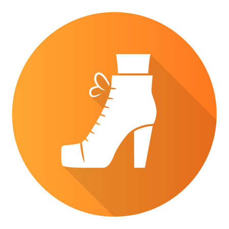 Women lita shoes orange flat design long shadow glyph icon. Vintage ladies boots side view. Female retro high heels. Footwear design for fall and spring. Vector silhouette illustration Ilustrace