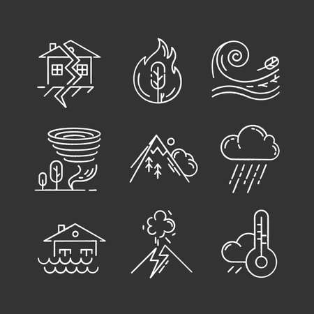 Natural disaster chalk icons set. Environmental hazards. Earthquake, wildfire, tsunami, tornado, avalanche, flood, downpour, volcanic eruption, drought. Isolated vector chalkboard illustrations