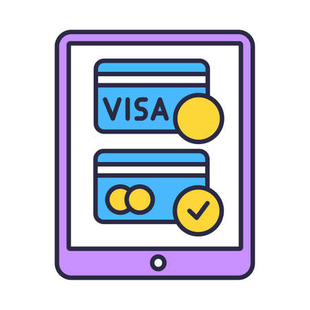 Online payment option color icon. Internet banking, e commerce. Customer paying for goods in shop. Secure financial transaction. Internet application pay method. Isolated vector illustration