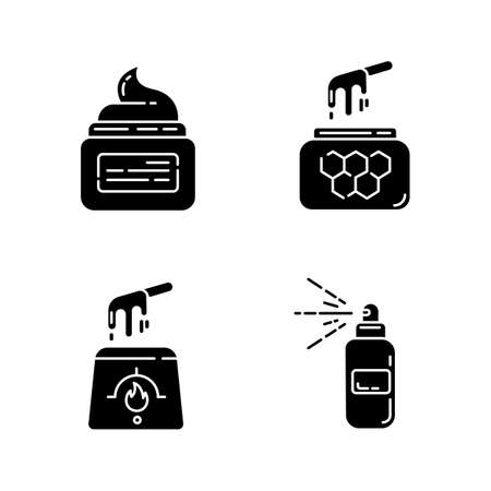 Natural waxing glyph icons set. Hot, soft, honey wax in jar. Hair removal equipment. Body spray for depilation. Professional beauty cosmetics. Silhouette symbols. Vector isolated illustration Archivio Fotografico - 133496156