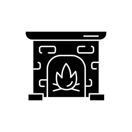 Fireplace glyph icon. House heating. Interior element, furniture in vintage style. Mantelpiece, hearthstone. Room fire place. Silhouette symbol. Negative space. Vector isolated illustration