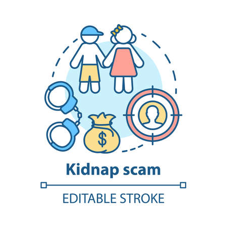 Kidnap scam concept icon. Children abduction. Demanding ransom. Money fraud. Criminal business. Searching for kidnapper idea thin line illustration. Vector isolated outline drawing. Editable stroke
