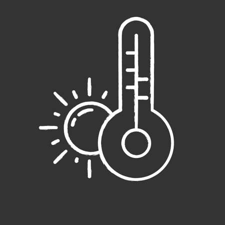 Weather forecast chalk icon. Anticyclone. Drought. Atmospheric conditions and air temperature. Sun and thermometer. Meteorological observations. Global warming. Isolated vector chalkboard illustration Ilustração