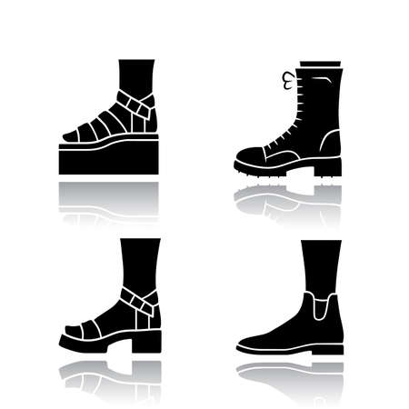 Women trendy shoes drop shadow black glyph icons set. Female elegant formal and casual footwear. Stylish winter and autumn boots. Fashionable platform heels. Isolated vector illustrations