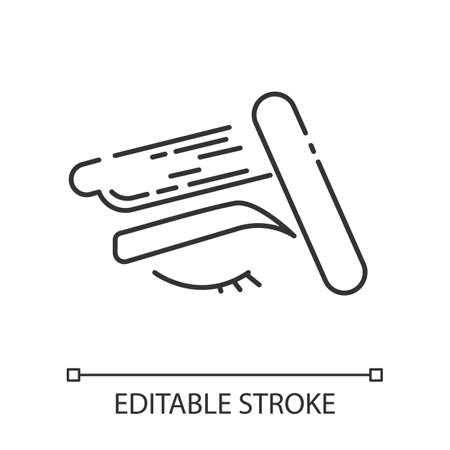 Brow waxing linear icon. Female facial hair removal procedure. Depilation with natural soft hot wax. Thin line illustration. Contour symbol. Vector isolated outline drawing. Editable stroke