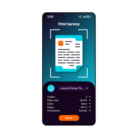Print service smartphone interface vector template. Mobile app page blue, black design layout. Remote printer management screen. Flat UI for application. Document printing. Typography. Phone display