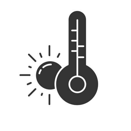 Weather forecast glyph icon. Anticyclone. Drought. Atmospheric conditions and air temperature. Sun and thermometer. Global warming. Silhouette symbol. Negative space. Vector isolated illustration Ilustração