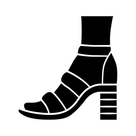Block high heels glyph icon. Woman stylish footwear. Female casual shoes, summer sandals with ankle strap. Clothing accessory. Silhouette symbol. Negative space. Vector isolated illustration