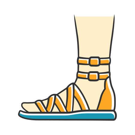 Sandały gladiatorki kolor żółty ikona. Kobieta stylowy projekt obuwia. Kobiece buty na co dzień, nowoczesne letnie mieszkania z bocznym widokiem na pasek na kostkę. Modna odzież damska. Ilustracja wektorowa na białym tle Ilustracje wektorowe
