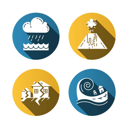 Natural disaster flat design long shadow glyph icons set. Geological and atmospheric hazards. Flood, volcanic eruption, earthquake, tsunami. Destructive force of nature. Foto de archivo - 133545830