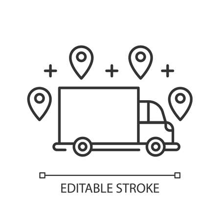 Delivery option linear icon. Online order tracking. Shipping truck with location marks. Delivery service. Thin line illustration. Contour symbol. Vector isolated outline drawing. Editable stroke