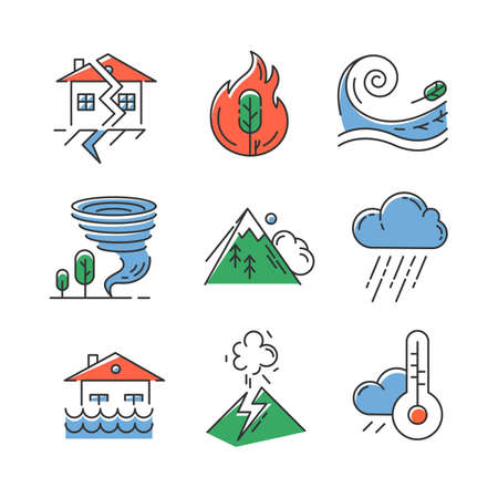 Natural disaster color icons set. Geological and atmospheric catastrophes. Earthquake, wildfire, tsunami, tornado, avalanche, flood, downpour, volcanic eruption. Isolated vector illustrations Foto de archivo - 133545832