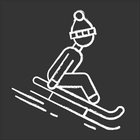 Sledding chalk icon. Winter extreme sport, risky activity and adventure. Sleigh riding. Cold season outdoor leisure for children and adults. Person sledging. Isolated vector chalkboard illustration