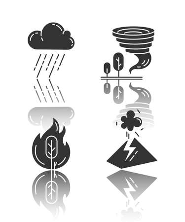 Natural disaster drop shadow black glyph icons set. Global climate changes. Wildfire, downpour, volcanic eruption, tornado. Environmental hazards. Isolated vector illustrations Foto de archivo - 133527967