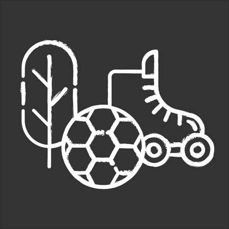 Sports and outdoors chalk icon. Hobbies and games supplies. Sport activities. E commerce department, online shopping categories. Active leisure concept. Isolated vector chalkboard illustration