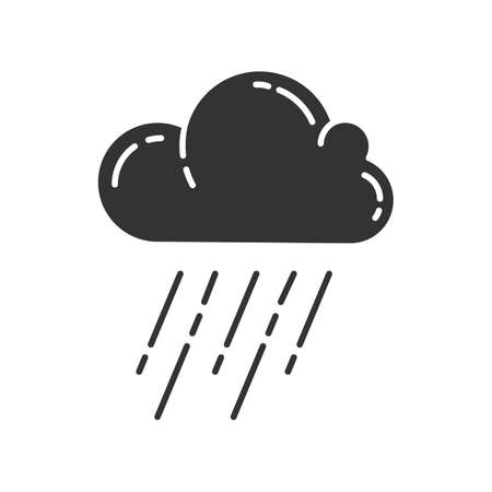 Icono de glifo de aguacero. Tormenta de lluvia. Nube, fuertes lluvias. Lluvia torrencial y torrencial. Fenómeno meteorológico. Monzón. Temporada de lluvias. Símbolo de silueta. Espacio negativo. Vector ilustración aislada