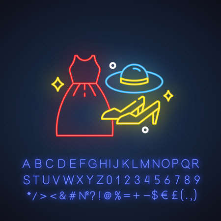 Women fashion neon light icon. Female clothing, shoes. Apparel details. E commerce department, online shopping categories. Glowing sign with alphabet, numbers and symbols. Vector isolated illustration Ilustrace