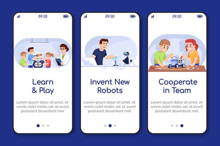 Robotics courses onboarding mobile app screen vector template. Kids and adults in science club. Walkthrough website steps with flat characters. UX, UI, GUI smartphone cartoon interface concept 向量圖像
