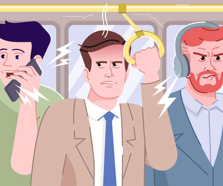 People make noise in bus flat vector illustration. Passengers speaking loud and listening to music in public transport cartoon characters. Frustrated and angry man. Stressful morning commuting Ilustração