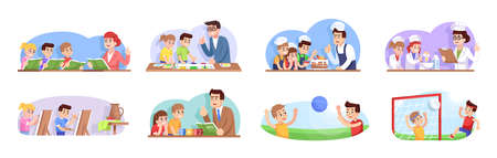 After school flat vector illustrations set. Extracurricular activities. Interest clubs for boys and girls. Additional education for kids. Children going for elective courses cartoon characters