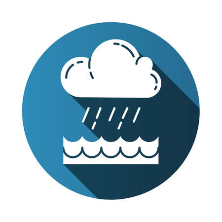 Downpour blue flat design long shadow glyph icon. Cloud, heavy rainfall, incoming water. Rainstorm. Torrential, pouring rain over of water. Monsoon season. Vector silhouette illustration Illustration