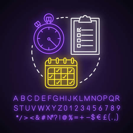 Select date and time neon light concept icon. Choose day, hour idea. Making reservation. Time management, scheduling. Glowing sign with alphabet, numbers and symbols. Vector isolated illustration
