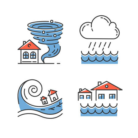 Natural disaster blue color icons set. Global climate changes danger. Tornado, flood, downpour, tsunami. Geological, atmospheric catastrophes. Environmental cataclysmes. Isolated vector illustrations Ilustração