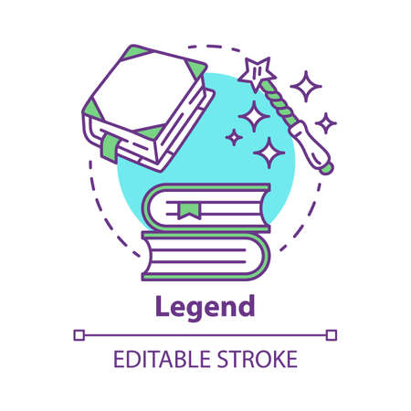 Legend concept icon. Storytelling idea thin line illustration. Fables, fiction, mythes with magic literature elements. Vector isolated outline drawing. Fairy tales, fantasy books. Editable stroke