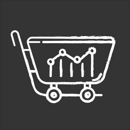 Sell analytics chalk icon. Marketing research. Buying activity. Business analysis. Sales and conversions rates statistics data. Price fluctuations. Trade graph. Isolated vector chalkboard illustration 일러스트