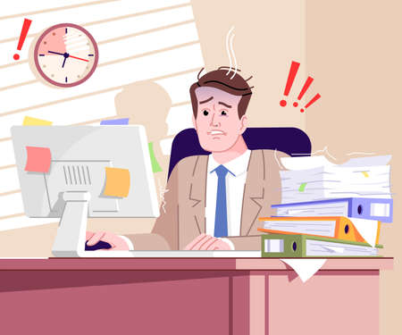 Time limit stress flat vector illustration. Exhausted office worker struggling meet deadline cartoon characters. Time management failure. Tired and frustrated businessman with paperwork pile on table