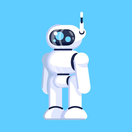 Robot flat vector illustration. Cybernetic mechanism. Gadget for play, programming. Machine robotic technology. Smart android device. Isolated cartoon toy on blue background