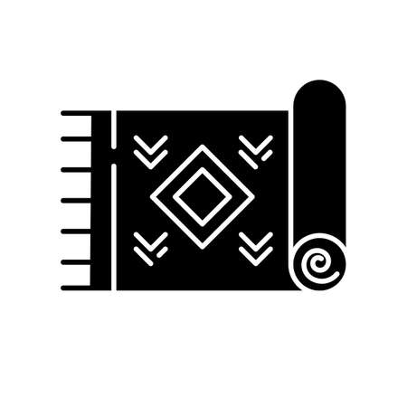 Home carpet glyph icon. Cozy corridor, hallway, room floor rug. Interior design element. Textile item, fabric stuff. Doormat, kilim. Silhouette symbol. Negative space. Vector isolated illustration
