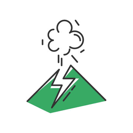 Volcanic eruption green color icon. Geothermal power. Active volcano explosion. Geological disaster. Seismically hazardous area. Smoke and ash emission from mountain. Isolated vector illustration Иллюстрация