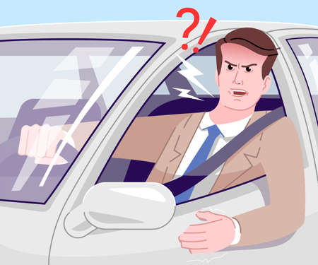 Traffic jam stress flat vector illustration. Angry businessman in suit driving car and yelling cartoon character. Irritated and aggressive young driver in automobile. Stressful commuting to work
