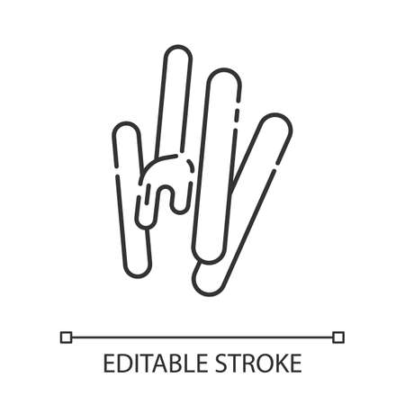 Waxing spatula linear icon. Natural honey cold, hot wax. Body hair removal equipment. Tools for depilation. Thin line illustration. Contour symbol. Vector isolated outline drawing. Editable stroke